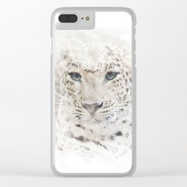 Watercolor Snow Leopard Clear iPhone Case