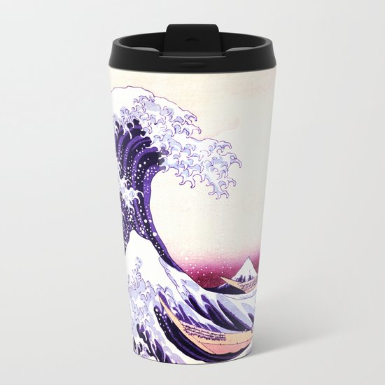 The Great wave purple fuchsia Metal Travel Mug