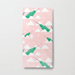 Sea unicorn - Narwhal green and pink Metal Print