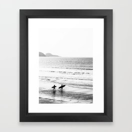 Surfers, Black and White, Beach Photography Framed Art Print