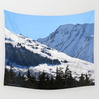 skiing Wall Tapestries featuring Back-Country Skiing  - I by Alaskan Momma Bear