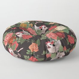 Opossum Floral Pattern (with text) Floor Pillow