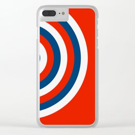Retro Circles Pop Art - Red White & Blue Clear iPhone Case