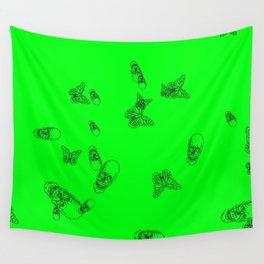 Green Skulls Wall Tapestry