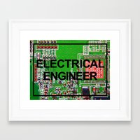 engineer Framed Art Prints featuring Electrical Engineer by EEShirts