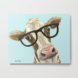 Cute Glasses Cow Up Close Cow With Glasses Metal Print