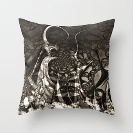 Life of black and white abstract creatures Throw Pillow