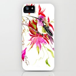 Little Hummingbird and Tropical Pink Flowers iPhone Case