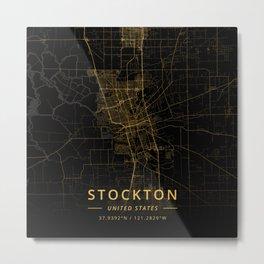 Stockton, United States - Gold Metal Print