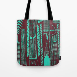 Metropolis [Red / Aqua] Tote Bag