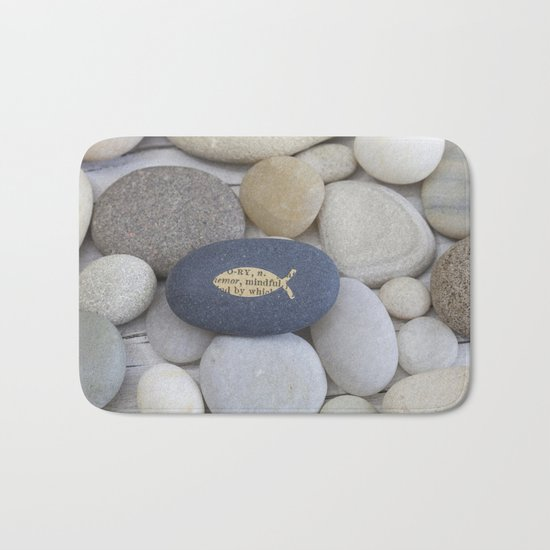 Mindful fish symbol on pebble Bath Mat