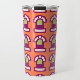 New York Windows Pattern 261 Orange Raspberry and Green Travel Mug