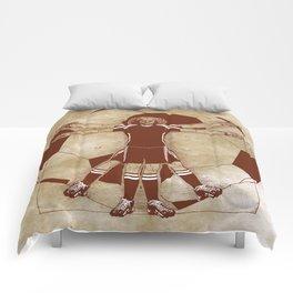 Vitruvian soccer player Comforters