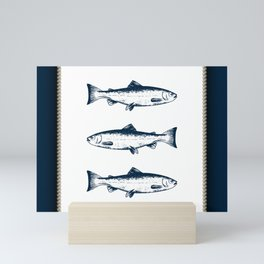 Blue Fish And Ropes Marine Design Mini Art Print