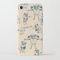 workout iPhone & iPod Cases featuring Pug Workout by Huebucket