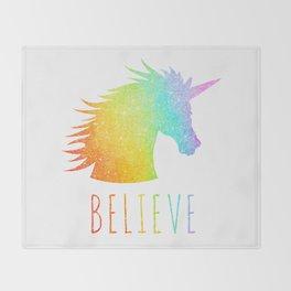 Believe  |  Rainbow Glitter Unicorn Throw Blanket