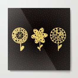 Stylized yellow flowers in dots on black background  Metal Print