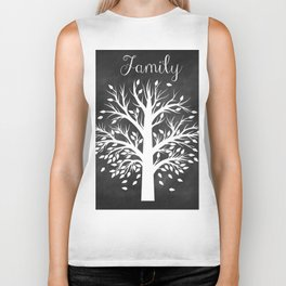 Family Tree Black and White Biker Tank