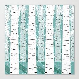 birch tree background snow Canvas Print