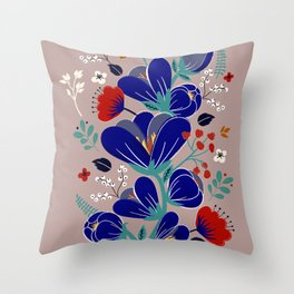 Folk Spring Flowers blooms - number1 Throw Pillow