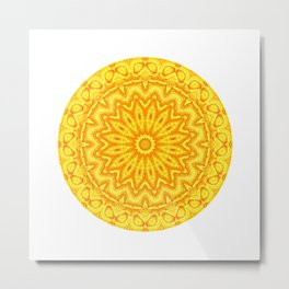 Yellow Chasing the Sun Mandala Metal Print
