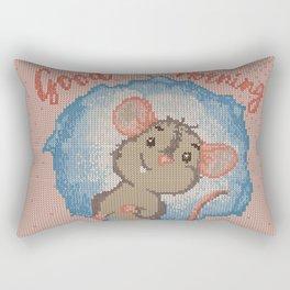 Mouse Knitted Illustration Rectangular Pillow