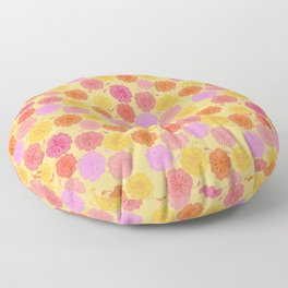 Hibiscus Hawaiian Flowers in Pinks and Corals on Yellow Floor Pillow