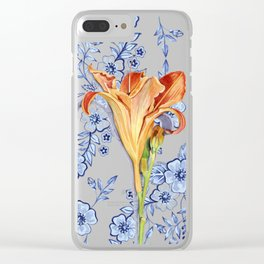Blue Rhapsody Daylily Clear iPhone Case