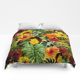 Tropical Vintage Exotic Jungle Flower Flowers - Floral watercolor pattern Comforters