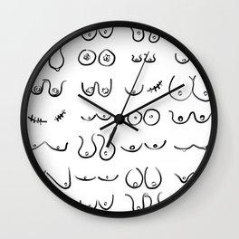 Boobies Drawing Pattern Black & White Wall Clock
