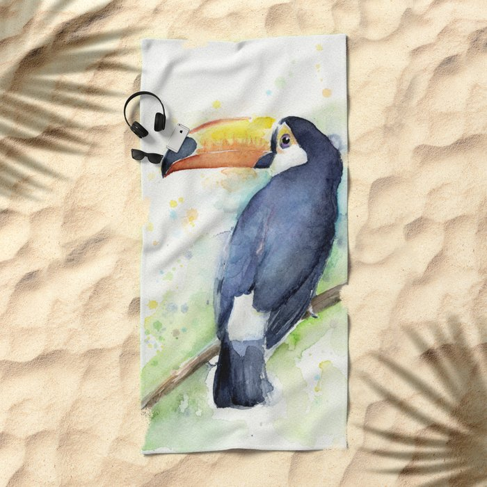 Toucan Tropical Bird Watercolor Beach Towel