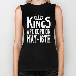 Kings Are Born On May 16th Funny Birthday T-Shirt Biker Tank