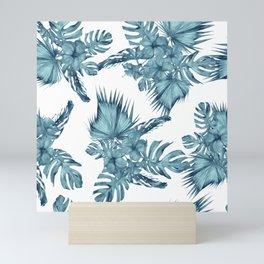 Tropical Palm Leaves Hibiscus Flowers Blue Mini Art Print