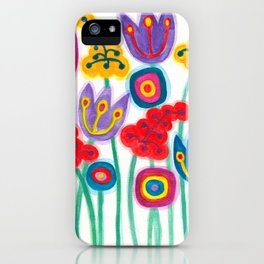 raw flower garden with tulips iPhone Case