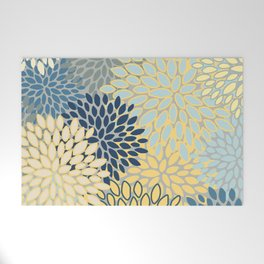 Floral Print, Yellow, Gray, Blue, Teal Welcome Mat