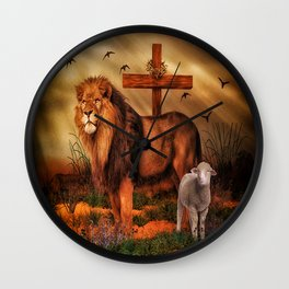 The Lion And The Lamb Wall Clock