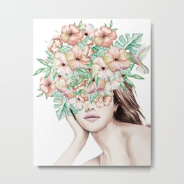 She Wore Flowers in Her Hair Island Dreams Metal Print