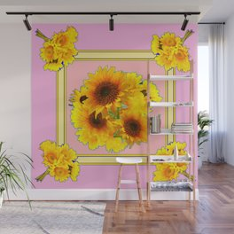YELLOW SUNFLOWER BOUQUETS ON PINK Wall Mural