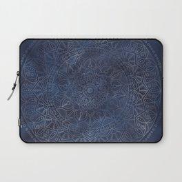 Vintage Circle of Life Mandala full color on blue swirl Distressed Laptop Sleeve