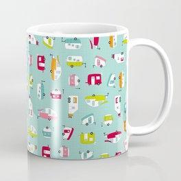 Multicolour Campers on aqua Coffee Mug