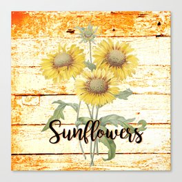 Country Sunflowers on wood Canvas Print
