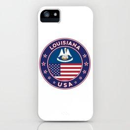 Louisiana, Louisiana t-shirt, Louisiana sticker, circle, Louisiana flag, white bg iPhone Case
