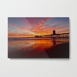 HB Sunsets   12/20/15  ~  Sunset At The Huntington Beach Pier Metal Print