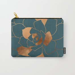 Abstract Metal Copper Blossom on Emerald Carry-All Pouch