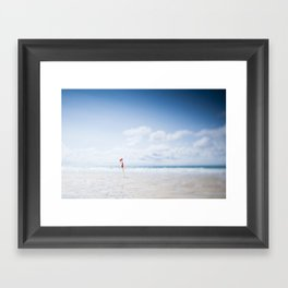 tilt and shift Lifeguard flag, Fistral Beach, Cornwall Framed Art Print