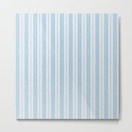 Velvety Snakeskin Stripe in Powder Blue Metal Print