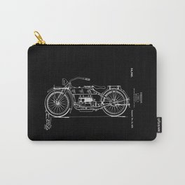 1919 Motorcycle Patent Black White Carry-All Pouch