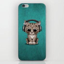 Cute Kitten Dj Wearing Headphones on Blue iPhone Skin