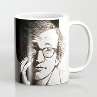 woody allen Mugs featuring Woody Allen by Frances Roughton