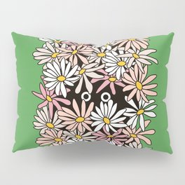 Shy Wallflower - Retro Botanical,Pink,anxiety,awkward, green, pink, flowers, daisies,retro, 60s, 70s Pillow Sham